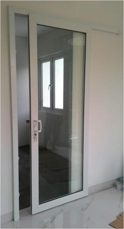 pintu geser aluminium warna putih globaltukang